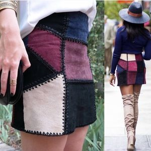 Zara leather suede patchwork colorblock skirt